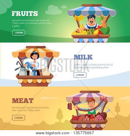 Vector illustration in flat style of farmers selling milk products, fresh meat and fruits in local market. Three illustrations for web banners with place for your text.