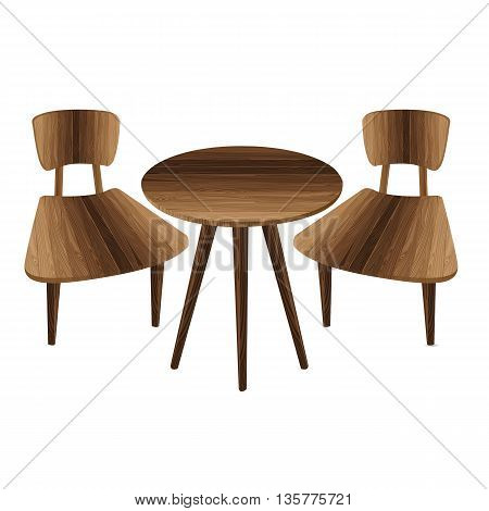 Table and two chairs on a white background. Wooden Furniture. Table and stool.