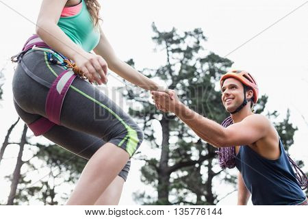 Low angle view of couple holding hands against trees at forest