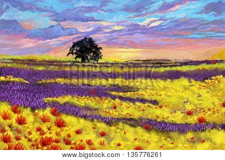 Watercolor Style Digital Artwork 16: The Tree and the Flower Plain and the Sky. Realistic Fantastic Cartoon Style Character, Background, Wallpaper, Story, Card Design