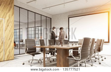 Conference room interior with blank whiteboard businesspeople discussing contract furniture and city view. Mock up 3D Rendering