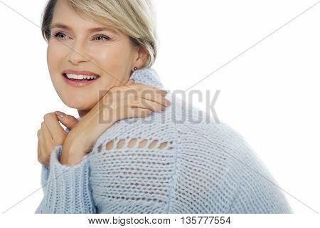 Happy Woman In Wool Sweater