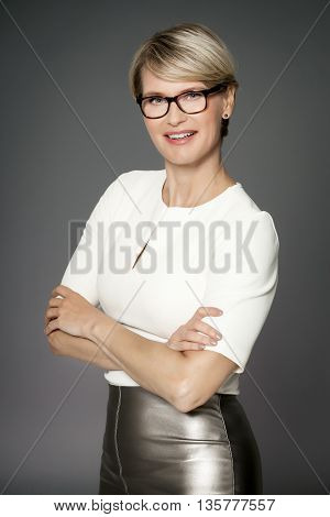 Elegant Woman With Glasses