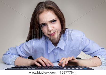 Silly Playful Girl Using Keyboard
