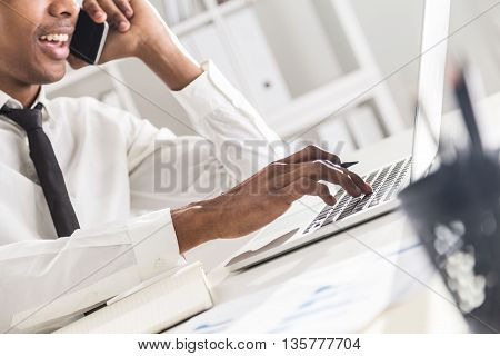 Black Businessman Working In Office