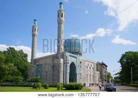 SAINT PETERSBURG, RUSSIA - MAY 22, 2016: View of the mosque, sunny may day. Religious landmark  of the city Saint Petersburg