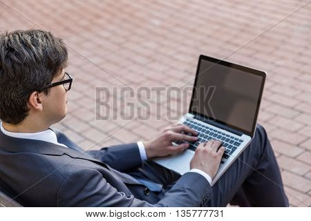 Handsome Businessman Using Laptop Side