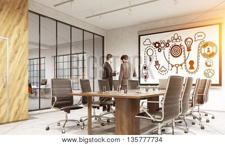 Startup concept with sketch on whiteboard in modern conference room interior with city view sunlight and discussing business people. 3D Rendering