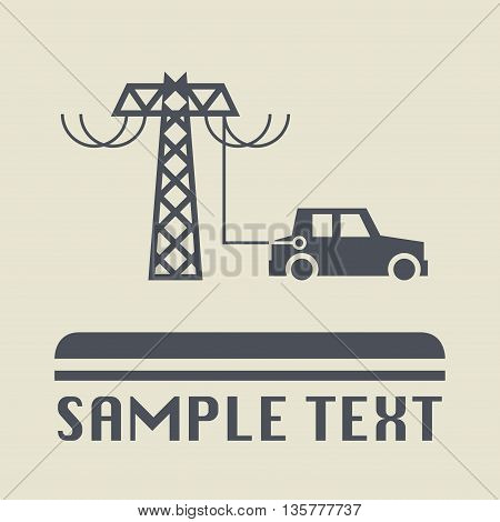Electric car icon or sign, vector illustration