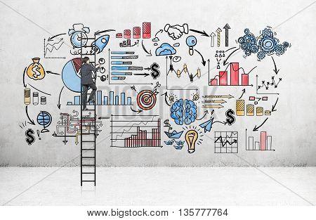 Businessman On Ladder Drawing Sketch