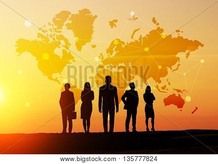 Global social networking concept with map abstract network and businesspeople silhouettes at sunset