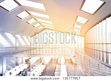 Coworking Office Interior With Sunlight