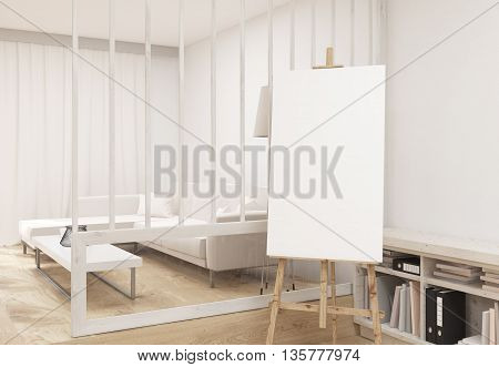 Blank Easel In Living Room