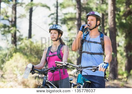 Adventurous young couple with bicycle at forest