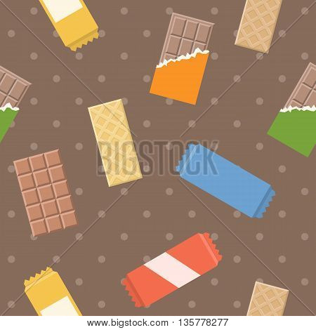 Vector chocolate and wafer pattern, seamless background