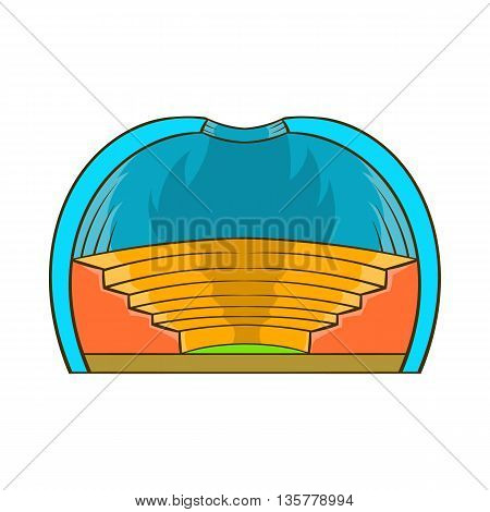 Indoor stadium icon in cartoon style isolated on white background. Sports facility symbol