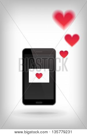 Love on Phone. Vector illustration of smart phone. Happy Valentines Day on Mobile. Phone with Hearts.