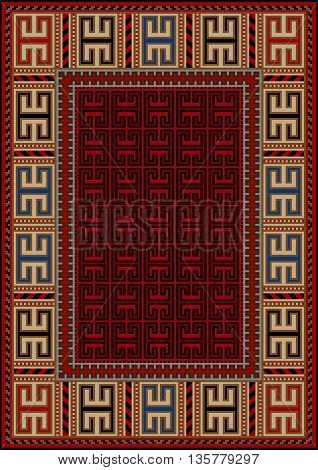 Vintage carpet with ethnic geometric ornament with yellow border and red middle
