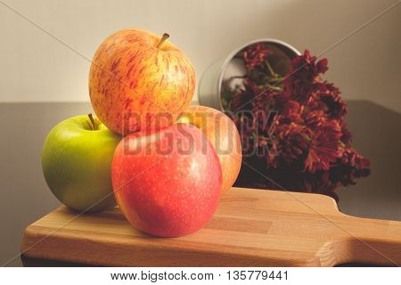 Organic colorful apples for healthy life Still life