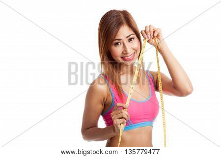 Beautiful Asian Healthy Girl With Measuring Tape
