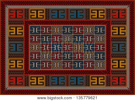 Motley vintage carpet ethnic geometric ornament in red shades