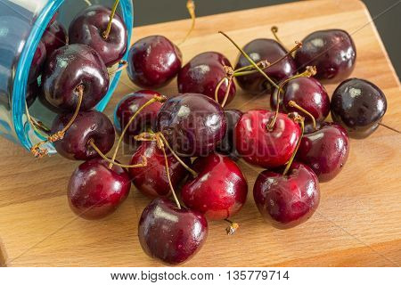 Organic colorful cherries for healthy life Still life