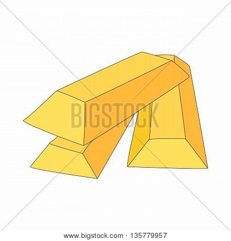 Gold bars icon in cartoon style on a white background