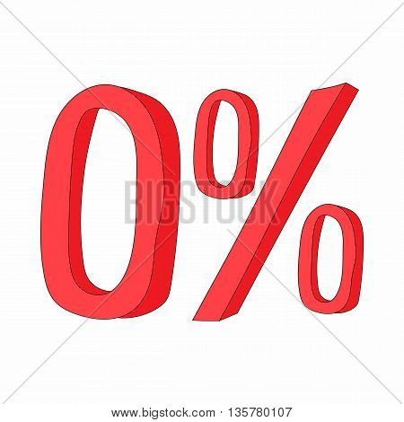 Red zero percent sign icon in cartoon style on a white background