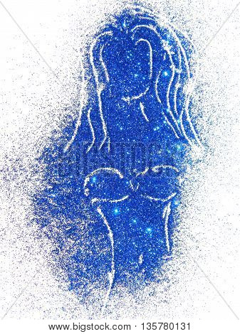Silhouette of a girl in swimsuit of blue glitter on white background