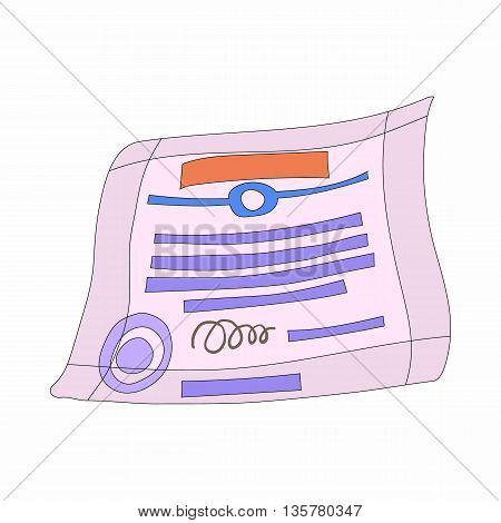 Signed and sealed document icon in cartoon style on a white background