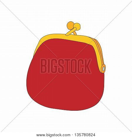 Retro red purse icon in cartoon style on a white background