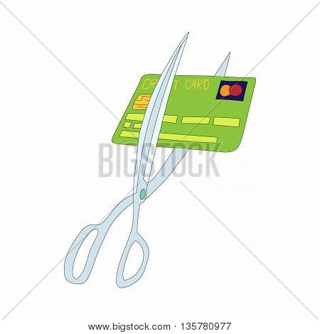 Scissors cutting credit card icon in cartoon style on a white background