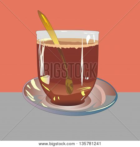 Illustration glass cup of cocoa drink on a glass saucer and gold teaspoon