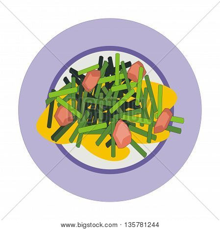 Illustration fried chive flowers garlic and pork with sour sweet sauce