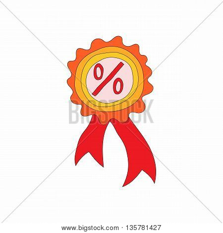 Badge with percent sign icon in cartoon style on a white background