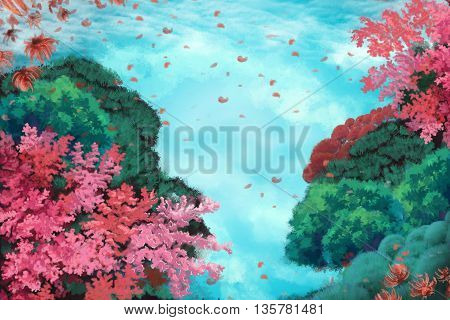 Watercolor Style Digital Artwork 18: The Cloud Waterfall at the Top of The Mountain, Beautiful Scene. Realistic Fantastic Cartoon Style Character, Background, Wallpaper, Story Card Design
