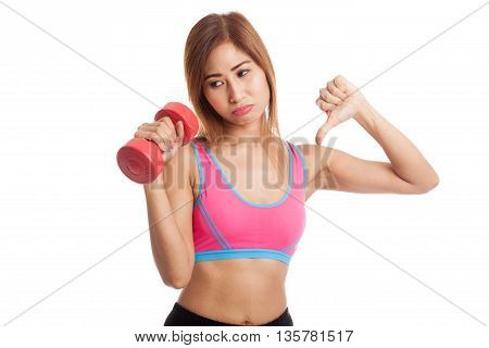 Beautiful Asian Healthy Girl Thumbs Down With Dumbbell