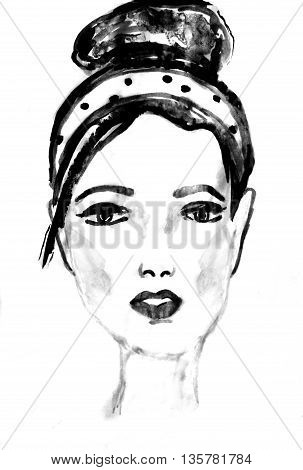 Young beautiful woman, ink drawing. Fashion illustration. Ink sketch on white background