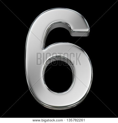 3d rendering, metal number collection - six, from chrome solid material.