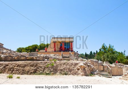 North Entrance with charging bull fresco at the Knossos palace on the Crete island Greece.