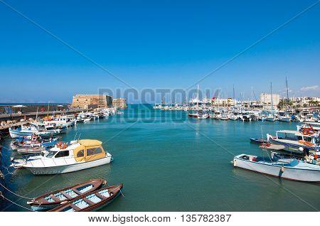 The Venetian fortress of Rocca al Mare in the harbor of Heraklion. Crete island Greece.