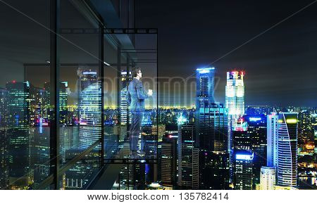Businessman with coffee cup looking into the distance from empty balcony interior on Singapore city background at night. 3D Rendering