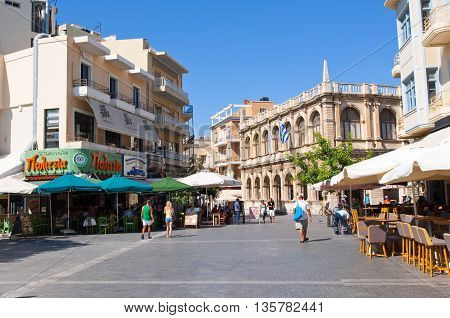 HERAKLION CRETE-JULY 21: The Venetian loggia as seen from Lions Square on the Island of Crete on July 212014 Greece.