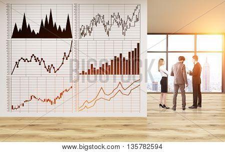 Business charts on concrete wall in unfurnished office with businesspeople New York city view and sunlight. 3D Rendering