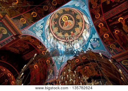 HERAKLION CRETE-JULY 25: Dome painting of the Monastery of Panagia Kalyviani on July 25 in Heraklion on the Crete island Greece. The Monastery of Panagia Kalyviani is located 60km south of Heraklion.