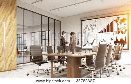 Whiteboard with business chart in conference room interior with businesspeople city view and sunlight. Side view 3D Rendering