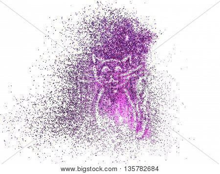 Funny cat of purple glitter on white background