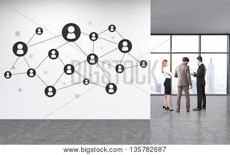 Social network on unfurnished office wall with discussing businesspeople and New York city view. 3D Rendering