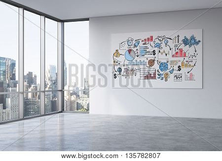 Whiteboard with business sketch in empty office interior with concrete floor wall and panoramic window with New York city view. 3D Rendering