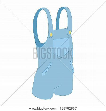 Blue short jumpsuit icon in cartoon style on a white background